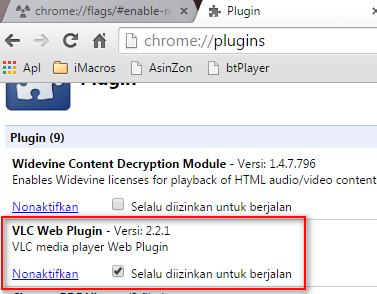Cara aktifkan VLC Web Plugin Chrome